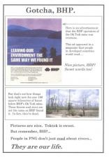 Campaign poster protesting environmental damage by BHP
